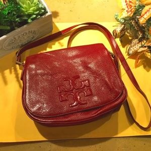Tory Burch Red Pebbled Leather Crossbody Bag